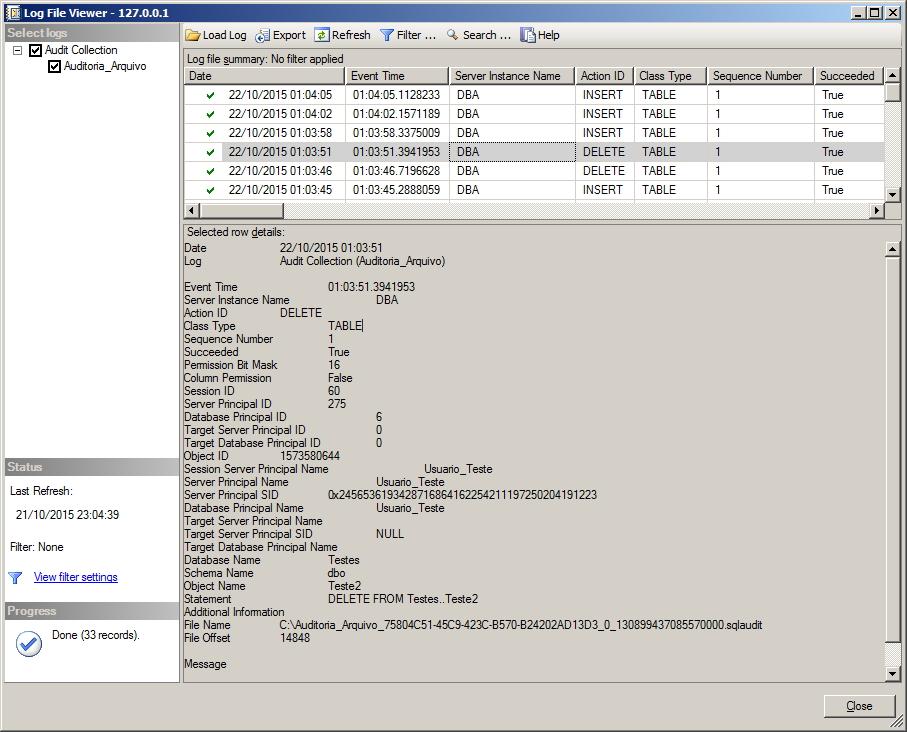 SQL Server Database Audit Specification View Log