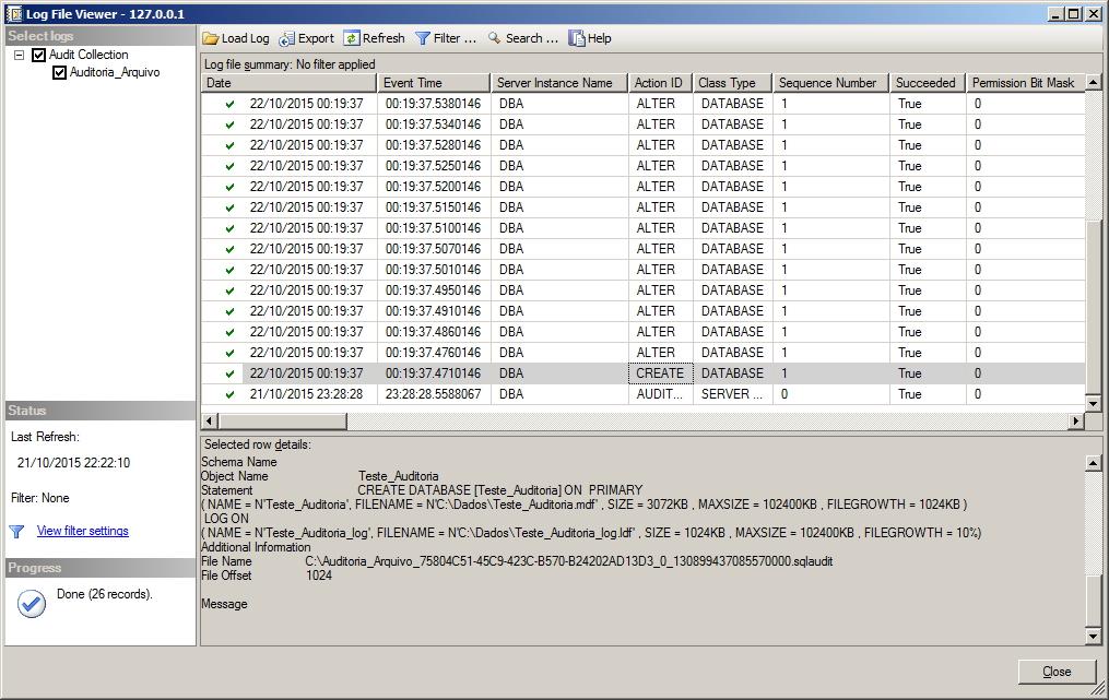 SQL Server - View Audit Logs
