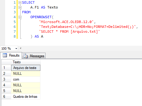 SQL Server - Import text txt file openrowset microsoft ace oledb 12.0