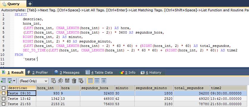 MySQL Convert Time Int 4